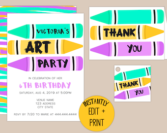 Crayon Art Party Printable Birthday Invitation template in editable PDF Format