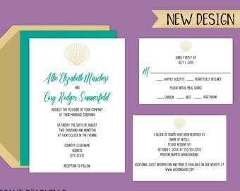 Simply Elegant, Seashell Wedding Invitation Suite available in PDF or JPEG digital format