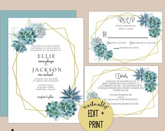 Blue Hue Succulent Editable Wedding Invitations