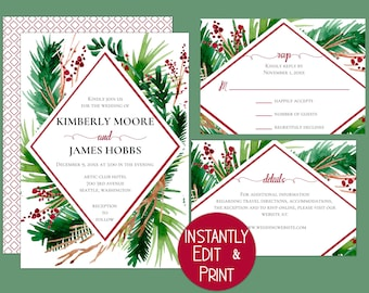 Geometric, Winter Wedding Invitations with watercolor Ferns and Berries featuring modern calligraphy. Printable at home, instore or online