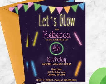 Let's Glow, Printable Glow Party Birthday Invitation