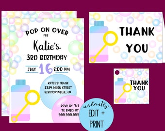 Pop On Over Bubble Party Printable Birthday Invitation in editable PDF format with free thank you cards and favor tags