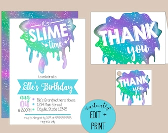 It's Slime Time, Slime Kids Birthday Invitation - Printable Party Invitation available in PDF Format