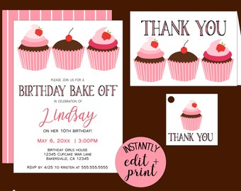 Cucake Bake Off Birthday Party Invitations for Cucpake Wars Themed Birthdays,