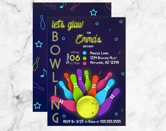 Lets Glow Bowling Kids Birthday Invitation