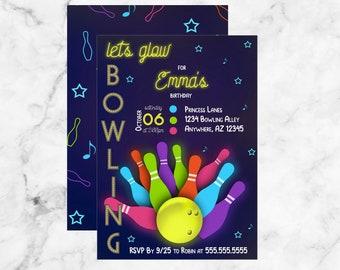 Lets Glow Bowling Kids Birthday Invitation