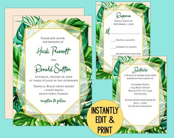 Tropical Foliage Printable Wedding Invitation Suite