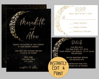 Luxury Moon and Stars Wedding Invitation Suite