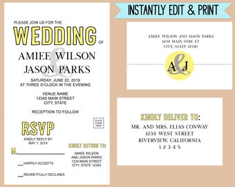 Color Pop Wedding All-In-One Invitation