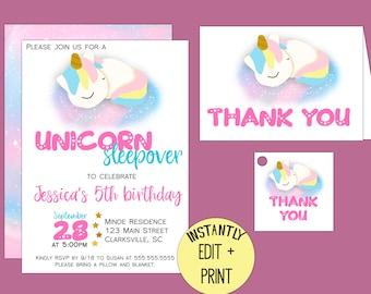 Unicorn Sleepover Birthday Party Printable Invitation Template in PDF format