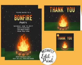Bonfire Party Invitations in DIY Printable PDF Format perfect for summer parties, birthday parties, and reunions