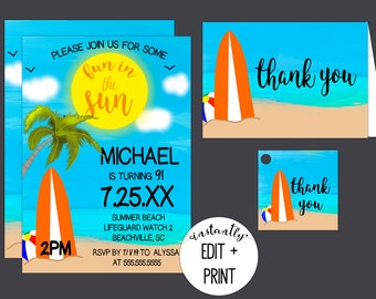 Fun in the Sun Beach Birthday Party Invitations with free thank you cards and favor tags