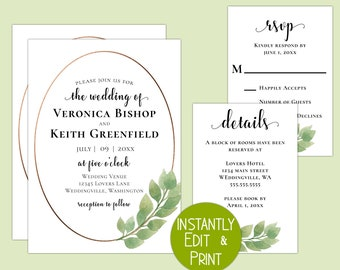 Stunning Modern Eucalyptus Wedding Suite with Faux Bronze Foil