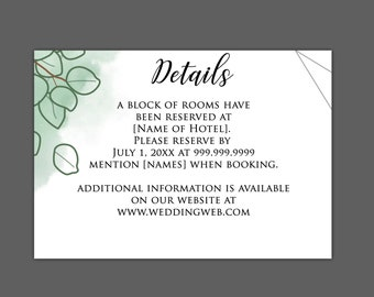 Watercolor Sand Dollar Eucalyptus Wedding Enclosure Card