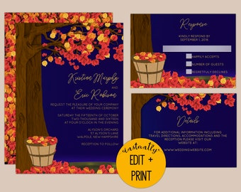 Rustic Orange and Red Fall Leaves on Oak Tree Wedding Invitation Kit in DIY Editable Printable PDF Format