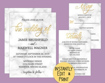 Marble and Gold Wedding Invitation Suite