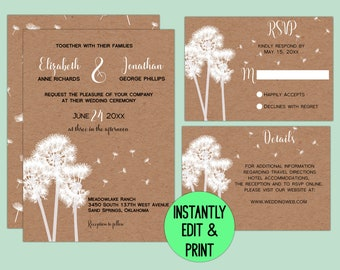 Rustic Dandelion Printable Wedding Suite