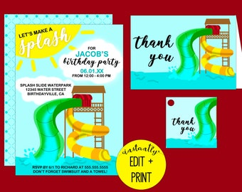 Let's Make a Splash | Water Park Printable Birthday Invitation Template in Editable PDF Format