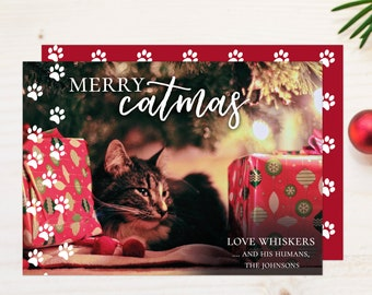 Merry Catmas Funny Pet Christmas Card