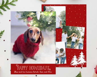 Happy Howlidays Photo Christmas Card with 4 Photos