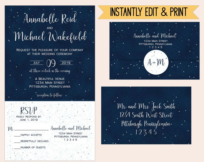 Featured listing image: Starry Night All In One Wedding Invitation