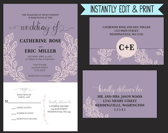Whimsical Lavender and Ivory Leaves All In One Printable Wedding Invitation