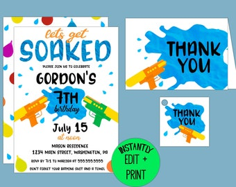 Lets Get Soaked, Summer Birthday Invitation Template in Printable PDF Format