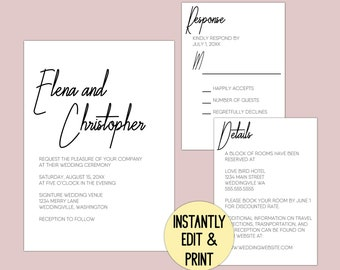 Printable Signature Wedding Invitation Editable Template Suite