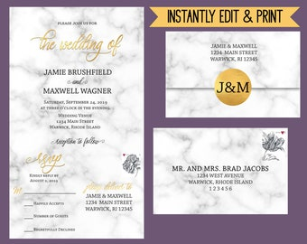 Marbleara - Editable All-In-One Wedding Invitation, Faux-Gold and Marble Wedding Set, Modern Calligraphy, Instant Download Template