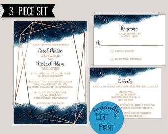 Watercolor Geometric Splash Wedding Invitaiton Template Kit