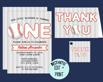 Baseball Themed First Birthday Invitation Template Kit