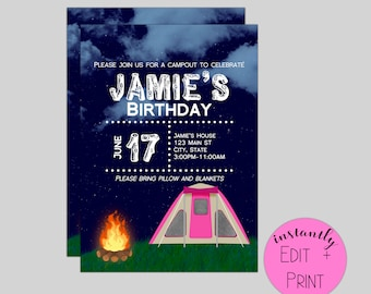 Pink Camping Kids Birthday Invitation Template