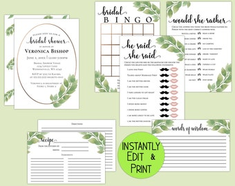 Luxury Eucalyptus Bridal Shower Invitation, Games, Recipe Card and Advice Card
