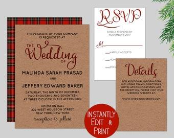 Rustic Plaid Wedding Invitation Suite