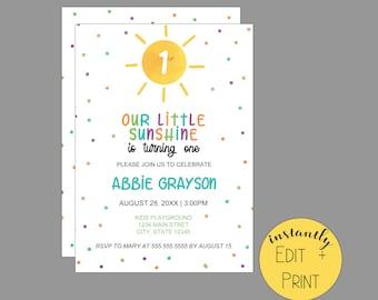 Our Little Sunshine Kids Birthday Invitation Template