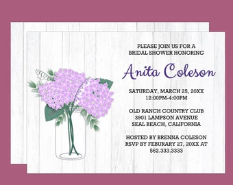 Purple Rustic Hydregena Bouquet Bridal Shower Invitation