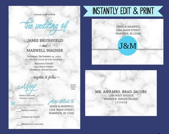 Marbleara - Editable Blue All-In-One Wedding Invitation, Faux-Gold and Marble Wedding Set, Modern Calligraphy, Instant Download Template