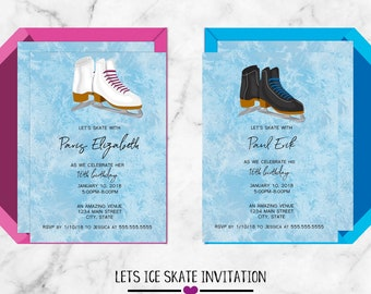 Lets Skate Winter Birthday Invitations