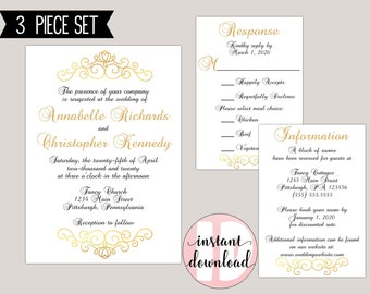 Elegant Scroll Romantic Traditional Wedding Invitation Suite