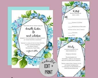 Blue Hydrangea Blooms Editable Wedding Invitation Kit