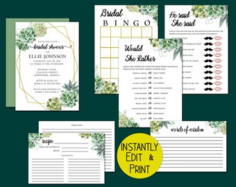 Succulent Bridal Shower Bundle includes Invitation, Games, Advice Cards and Recipie Cards