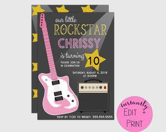 Rockstar Printable Birthday Invitation with faux-glitter guitar, music party, perfect for musicians