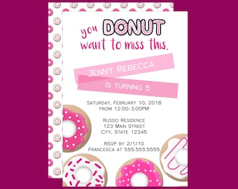 Donut Want to Miss Girls Birthday Invitation