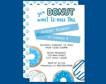 Donut Want to Miss Boys Birthday Invitation