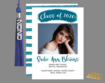 Brush Strokes Graduation Photo Announcement