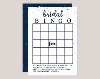 Starryscape - Bingo Bridal Shower Game, Starry Night, Under The Stars, Galaxy Themed Printed Bridal Shower Games