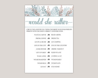 Apatite - Would She Rather Bridal Shower Game, Winter Romantic Wedding, Winter Ferns and Leaves, Winter Berry Branches, Bridal Shower Games