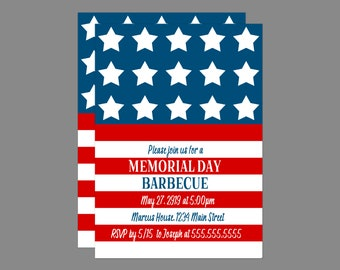 Stars and Stripes Memorial Day Party Invitation