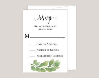 GLORIA - Luxury Eucalyptus Wedding RSVP Card