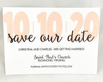 CHRISTINA - PRINTED Modern Contemporary Save The Date Card, Wedding Announcement, Large Bold Date, Modern Calligraphy, Classic Elegance